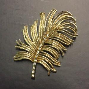 🏝VINTAGE MONET PALM FROND GOLD TONE BROOCH 🏝